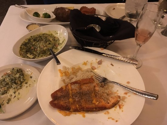 Morris, IL: Steelhead Trout over rice, creamed spinach and a glass of Huber Hugo Sparkling Rosé