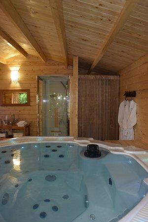 Espace Chalet avec sauna infrarouge,grand jacuzzi, douche, coin ...