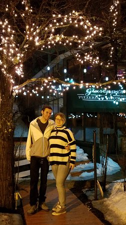 "Giuseppe's Pizzeria: Love under the ""fairy lights"" in front of Giuseppe's Pizza."