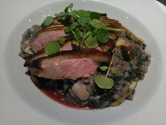 Twig and Spoon Restaurant: Roast duck with mushroom risotto & spinach, yumm!