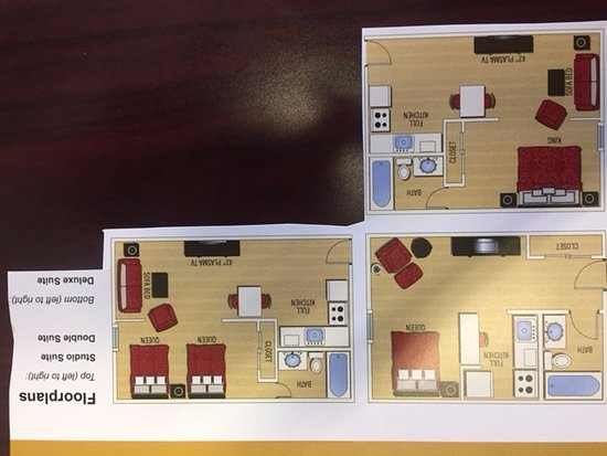 Ashley Quarters Hotel: Floor plans of the three types of rooms