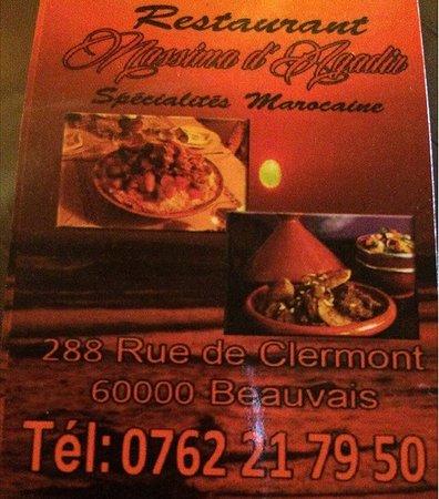 la carte de visite de ce restaurant marocain
