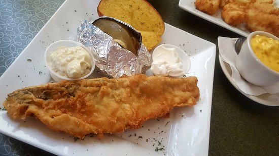 Monroe, WI: Beer Battered Walleye with baked potato
