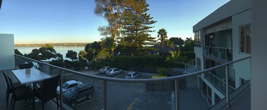 "VR Takapuna: ""harbour view"". Note: the balcony is straight, the curve is an effect of the panoramic photo."