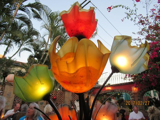Mark's Bar and Grill: Light fixture on the patio