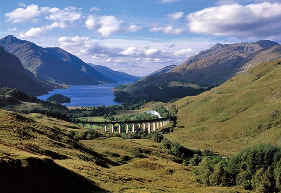 Fort William, UK : Another view of The Jacobite from above the Glenfinnan Viaduct.