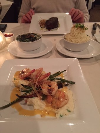 Manasquan, NJ: Shrimp n Grits, Whipped potatoes, creamed spinach, filet mignon