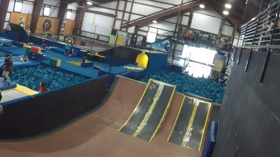 Woodward at Copper: Mega Ramp into Foam Pit with three different levels of jump height.