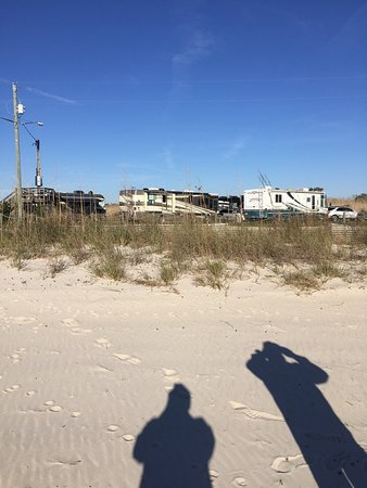 Bay Saint Louis, MS: Looking at the Silver Slipper RV Park from the beach.