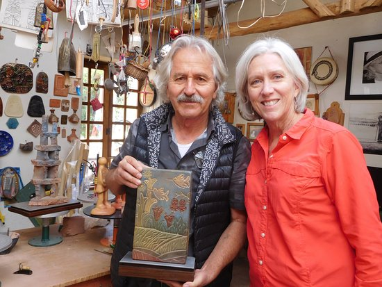 Ceramicas Seminario: artist with ceramic he and his wife made and signed