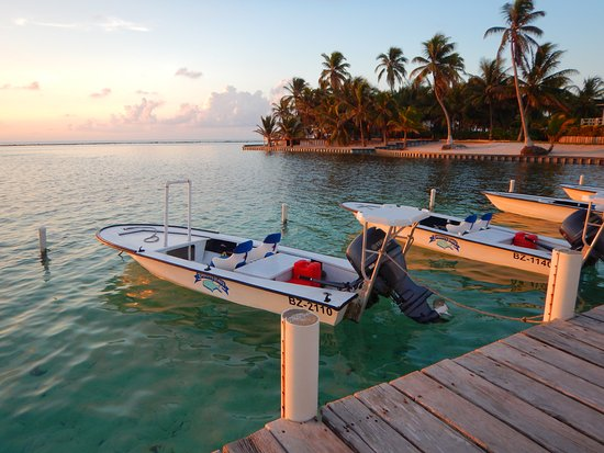 Turneffe-øerne, Belize: Sunrise view from our dock