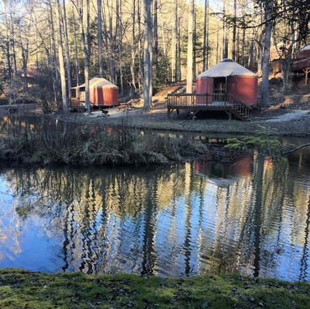 Falling Waters Adventure Resort: Yurts 1 and 6 on pond