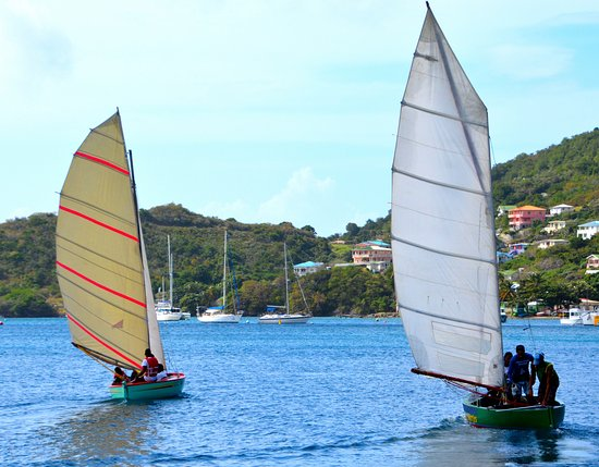 AQUA on Bequia: Traditional Bequia double ender sailboats in Admiralty Bay