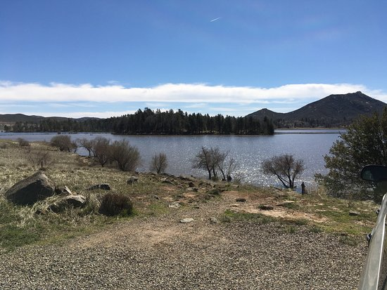 """Lake Cuyamaca : Lake nearly full after the Feb. 2017 storm, which lake received 6.39"""" of rainfall. Water muddy,"""