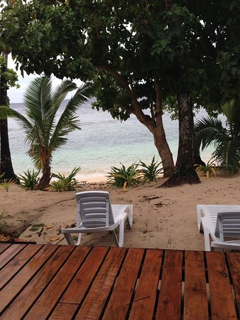 Qamea Island, Fiji: view from the deck of our room
