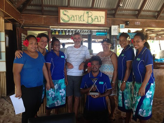 Qamea Island, Fiji: Staff with the 2016 Fiji excellence in tourism award for best eco surf resort