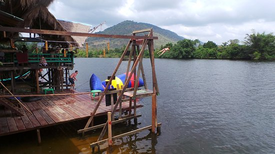 Kampot, Cambodia: Sun deck, with view of a blobber and Russian Swing