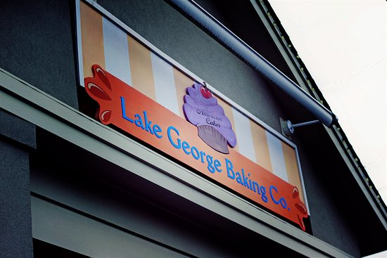 Lake George Baking Company: Company sign on building