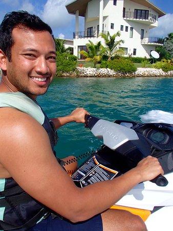 George Town, Grand Cayman: On the jet ski