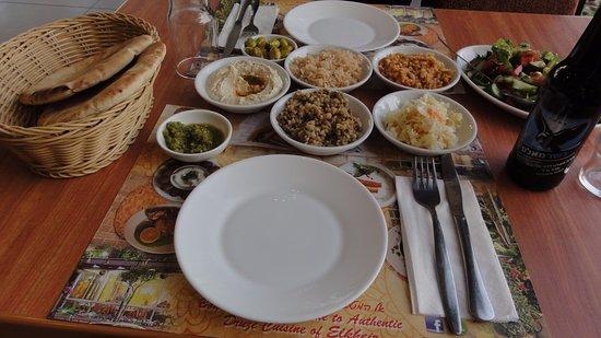 מסעדת אלחיר: These are just the side dishes. Ask the host what they are. They are all tasty!!!