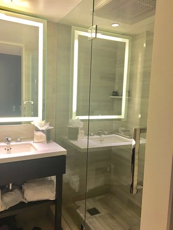 The Manhattan at Times Square Hotel: Beautiful walk-in showers with  rainforest shower head