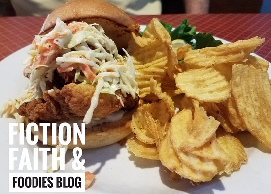 The Painted Fish Cafe : Fried Catfish Sandwich (special), outstanding! Crispy, tender, huge!