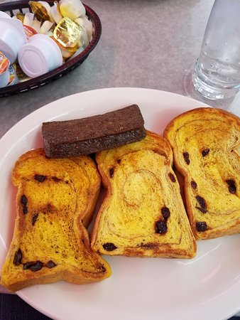 Timonium, MD: Nearly dry french toast and plastic cups of syrup