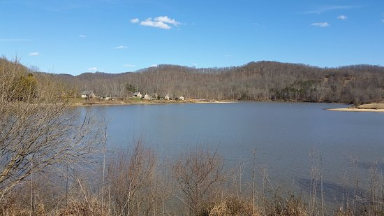 Roanoke, WV: View of cottage area from lakeside trail
