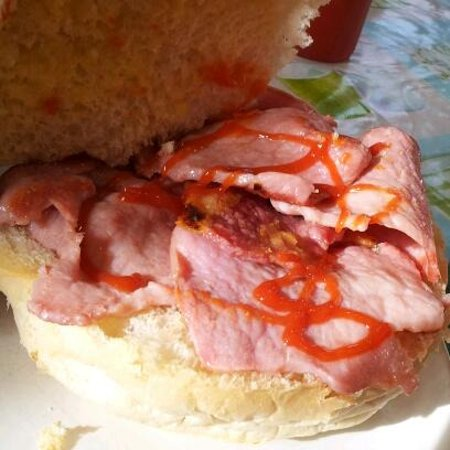 Ashover, UK: A generous portion of succulent British bacon in a huge fresh bun. A meal in itself!