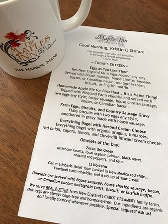 Maples Inn: Made-to-order breakfast menu and the mug I bought to remember our stay!