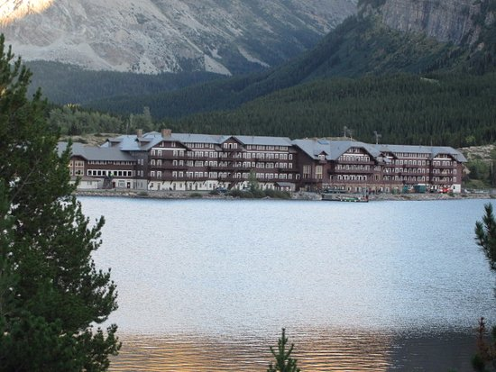 Many Glacier Lodge: from across the lake