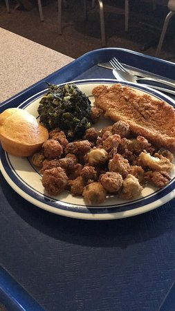 Wrens, GA: Fried catfish, okra, and awesome greens.