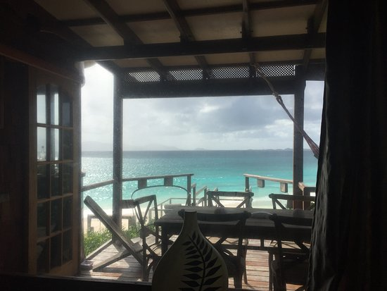 The Valley, Anguilla: View from the kitchen of the Beach House, Dune Preserve