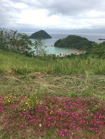 Tugawe Cove Resort: view from hill to lighthouse
