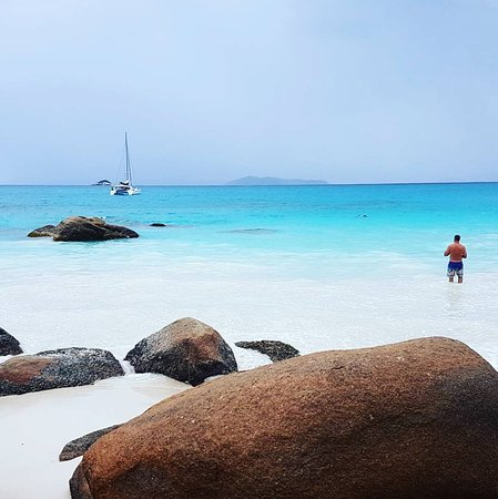 Praslin Island, Seychellerne: View from the beach
