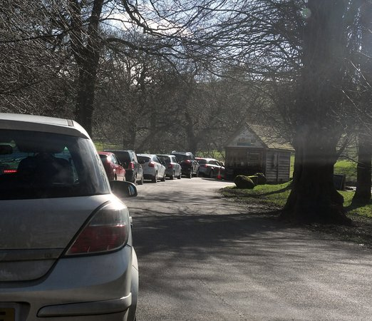 The parking queue at Lyme Park
