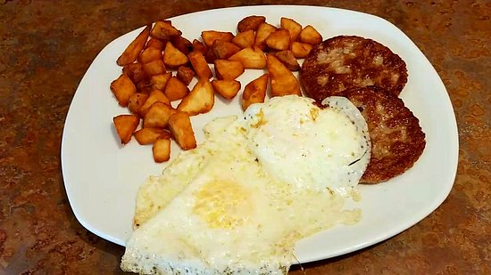 Perkins Restaurant and Bakery: Sausage patties, 2 eggs & breakfast potatoes