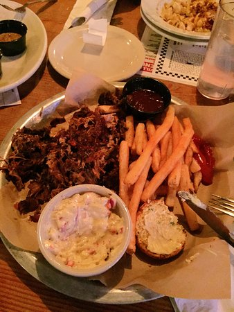 Woodinville, WA: The Pulled Pork Platter comes with cornbread and a choice of 2 sides.