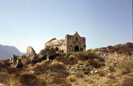 Gramvousa, Grecia: resti della chiesa della fortezza