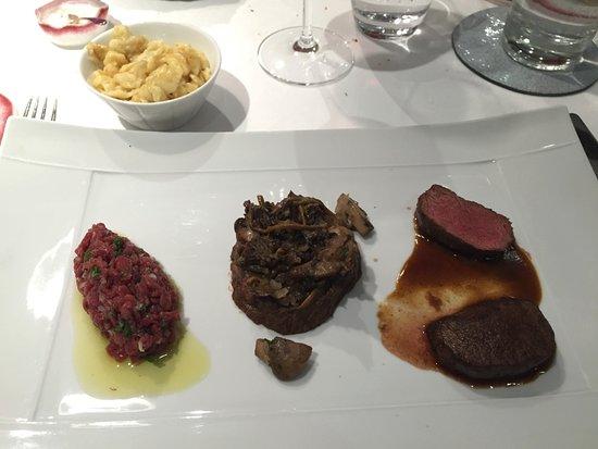 Westhalten, Prancis: Trio de chevreuil : tartare, daube, rôti