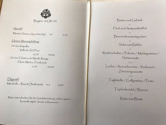 Landromantik Wellnesshotel Oswald: Speisekarte Abend