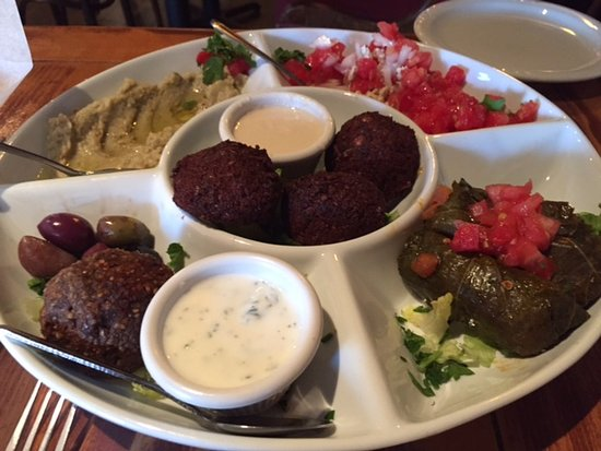 Mezza Cafe: Mezza Platter - baba ghannouj, shankleesh, grape leaves, kibbe ball, falafel, mixd olives