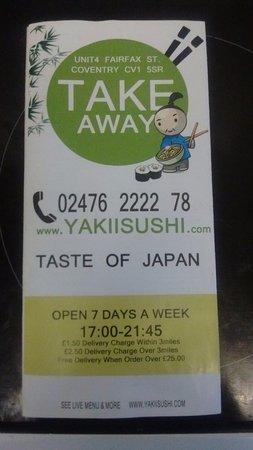 Yaki Sushi Take Away Menu