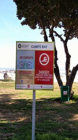 Camps Bay, Sydafrika: Warning for swimmers