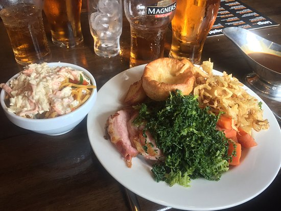 Gammon, Roast Potatoes, Cabbage, Carrots, Fried Onions, Yorkshire Pudding, Plus Side from Salad
