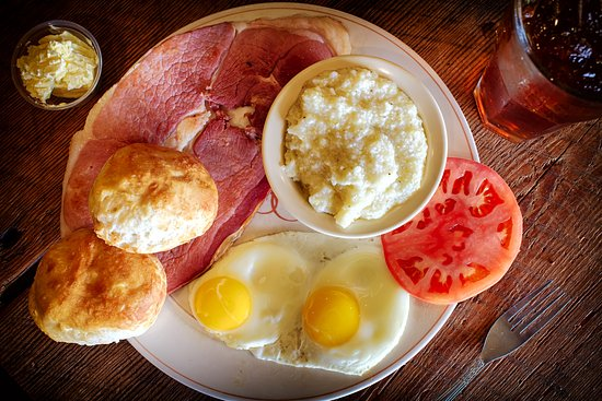 Monteagle, TN: Breakfast Served All Day! Tennessee Country Ham, Hot Biscuits, eggs any style, and GRITS!