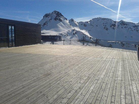 Riezlern, Østrig: Kanzelwand Gipfelstation. Von hier kann man das Hotel sehen