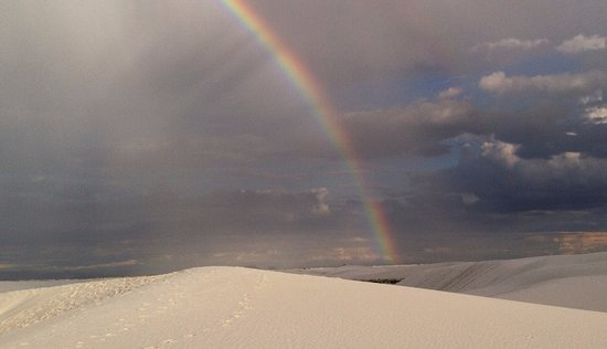 Algodones, Nuevo Mexico: ホワイトサンズにかかる虹