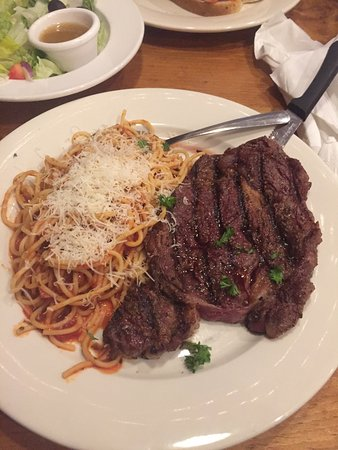 Barboursville, WV: Ribeye with a side of spaghetti.