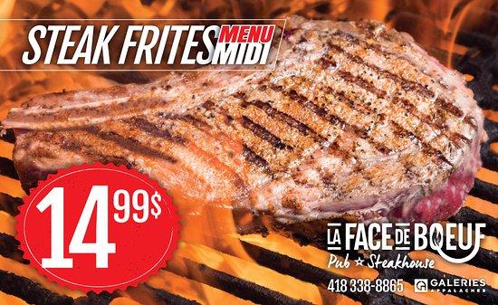 Thetford Mines, Canadá: L'Incontournable steak-frites du menu midi à seulement 9,99$